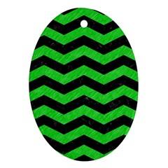 Chevron3 Black Marble & Green Colored Pencil Ornament (oval)