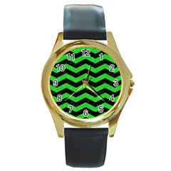 Chevron3 Black Marble & Green Colored Pencil Round Gold Metal Watch