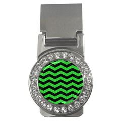 Chevron3 Black Marble & Green Colored Pencil Money Clips (cz)