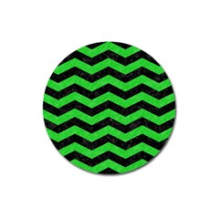 Chevron3 Black Marble & Green Colored Pencil Magnet 3  (round)
