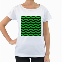 Chevron3 Black Marble & Green Colored Pencil Women s Loose Fit T Shirt (white)