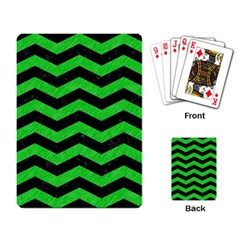 Chevron3 Black Marble & Green Colored Pencil Playing Card