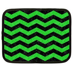 Chevron3 Black Marble & Green Colored Pencil Netbook Case (large)