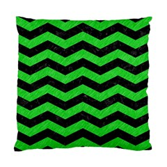 Chevron3 Black Marble & Green Colored Pencil Standard Cushion Case (one Side)