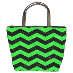 Chevron3 Black Marble & Green Colored Pencil Bucket Bags
