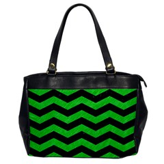 Chevron3 Black Marble & Green Colored Pencil Office Handbags