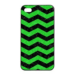 Chevron3 Black Marble & Green Colored Pencil Apple Iphone 4/4s Seamless Case (black)