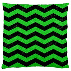 Chevron3 Black Marble & Green Colored Pencil Large Cushion Case (one Side)