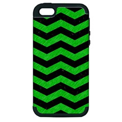 Chevron3 Black Marble & Green Colored Pencil Apple Iphone 5 Hardshell Case (pc+silicone)