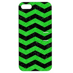 Chevron3 Black Marble & Green Colored Pencil Apple Iphone 5 Hardshell Case With Stand