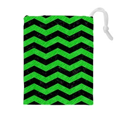 Chevron3 Black Marble & Green Colored Pencil Drawstring Pouches (extra Large)