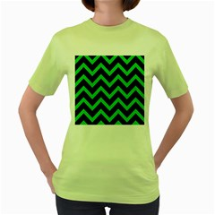 Chevron9 Black Marble & Green Colored Pencil Women s Green T Shirt