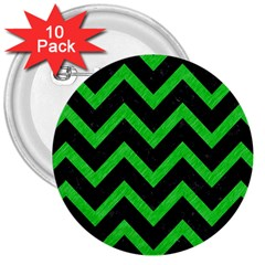 Chevron9 Black Marble & Green Colored Pencil 3  Buttons (10 Pack)