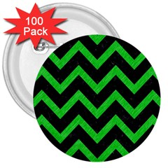 Chevron9 Black Marble & Green Colored Pencil 3  Buttons (100 Pack)