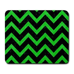 Chevron9 Black Marble & Green Colored Pencil Large Mousepads