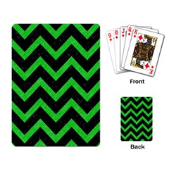 Chevron9 Black Marble & Green Colored Pencil Playing Card