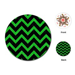 Chevron9 Black Marble & Green Colored Pencil Playing Cards (round)