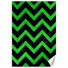 Chevron9 Black Marble & Green Colored Pencil Canvas 24  X 36