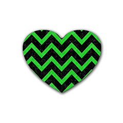 Chevron9 Black Marble & Green Colored Pencil Heart Coaster (4 Pack)