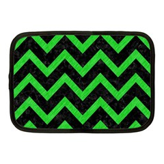 Chevron9 Black Marble & Green Colored Pencil Netbook Case (medium)