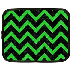 Chevron9 Black Marble & Green Colored Pencil Netbook Case (large)