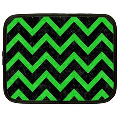 Chevron9 Black Marble & Green Colored Pencil Netbook Case (xxl)