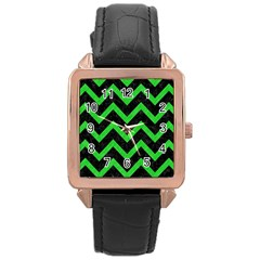 Chevron9 Black Marble & Green Colored Pencil Rose Gold Leather Watch