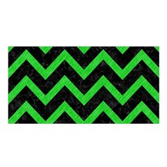 Chevron9 Black Marble & Green Colored Pencil Satin Shawl