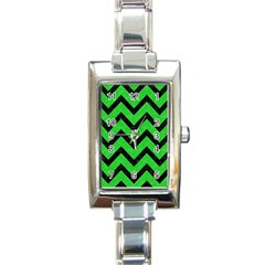 Chevron9 Black Marble & Green Colored Pencil (r) Rectangle Italian Charm Watch