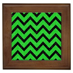 Chevron9 Black Marble & Green Colored Pencil (r) Framed Tiles