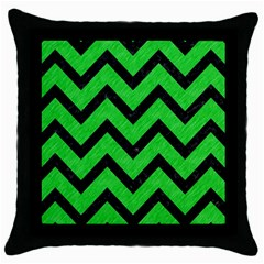 Chevron9 Black Marble & Green Colored Pencil (r) Throw Pillow Case (black)
