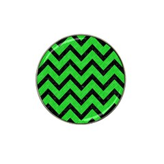 Chevron9 Black Marble & Green Colored Pencil (r) Hat Clip Ball Marker (4 Pack)