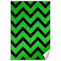 Chevron9 Black Marble & Green Colored Pencil (r) Canvas 24  X 36