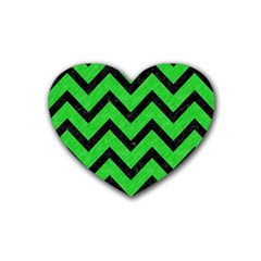 Chevron9 Black Marble & Green Colored Pencil (r) Rubber Coaster (heart)