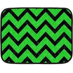 Chevron9 Black Marble & Green Colored Pencil (r) Fleece Blanket (mini)