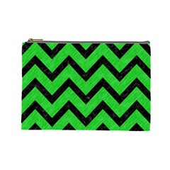 Chevron9 Black Marble & Green Colored Pencil (r) Cosmetic Bag (large)