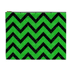 Chevron9 Black Marble & Green Colored Pencil (r) Cosmetic Bag (xl)