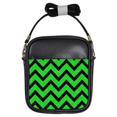 Chevron9 Black Marble & Green Colored Pencil (r) Girls Sling Bags