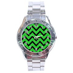 Chevron9 Black Marble & Green Colored Pencil (r) Stainless Steel Analogue Watch