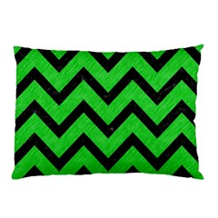 Chevron9 Black Marble & Green Colored Pencil (r) Pillow Case (two Sides)