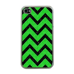 Chevron9 Black Marble & Green Colored Pencil (r) Apple Iphone 4 Case (clear)