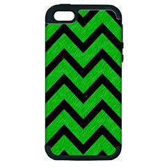 Chevron9 Black Marble & Green Colored Pencil (r) Apple Iphone 5 Hardshell Case (pc+silicone)