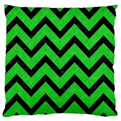 Chevron9 Black Marble & Green Colored Pencil (r) Large Flano Cushion Case (one Side)