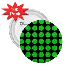 Circles1 Black Marble & Green Colored Pencil 2 25  Buttons (100 Pack)