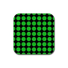 Circles1 Black Marble & Green Colored Pencil Rubber Square Coaster (4 Pack)