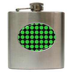 Circles1 Black Marble & Green Colored Pencil Hip Flask (6 Oz)