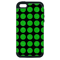 Circles1 Black Marble & Green Colored Pencil Apple Iphone 5 Hardshell Case (pc+silicone)