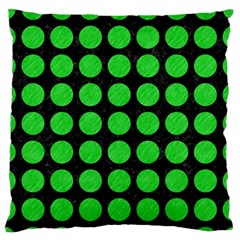 Circles1 Black Marble & Green Colored Pencil Large Flano Cushion Case (two Sides)