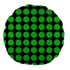 Circles1 Black Marble & Green Colored Pencil Large 18  Premium Flano Round Cushions