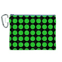 Circles1 Black Marble & Green Colored Pencil Canvas Cosmetic Bag (xl)
